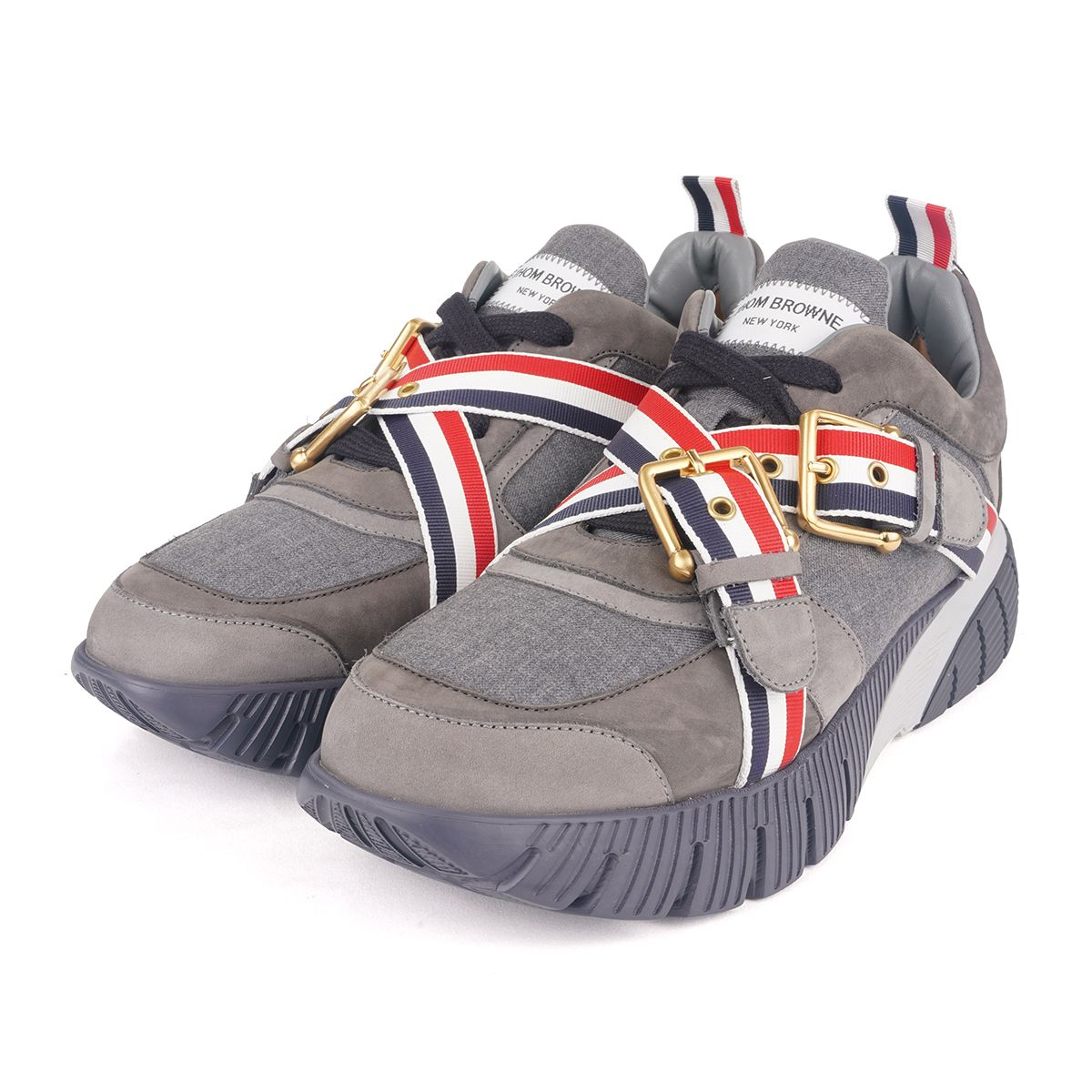 [お問い合わせ商品] THOM BROWNE. RAISED RUNNING SHOE W/ RWB WEBBING STRAPS & GREY FLEX RUBBER SOLE IN SUPER 120'S TWILL / 035 : MED GREY