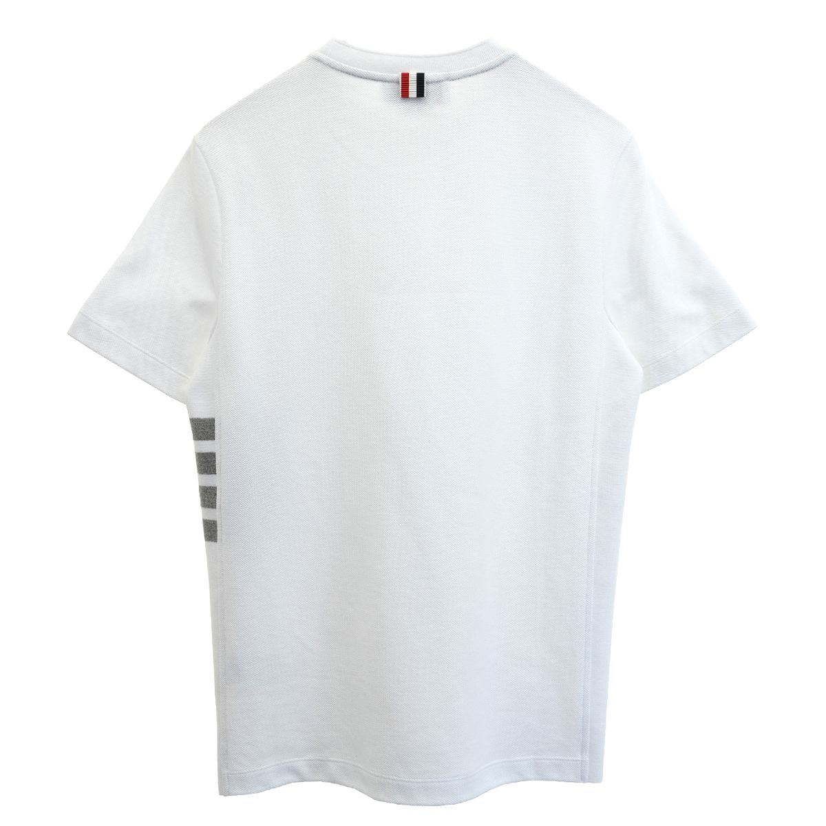 [お問い合わせ商品] THOM BROWNE. SHORT SLEEVE RIB CUFF TEE W/ ENGINEERED 4 BAR STRIPE IN CLASSIC PIQUE / 100 : WHITE