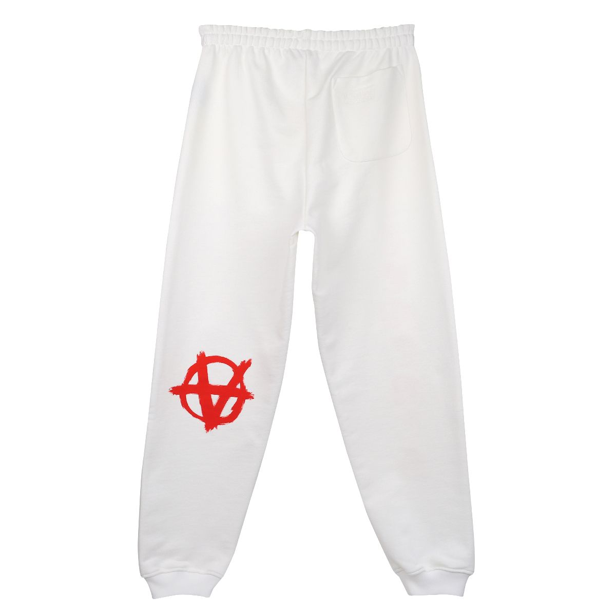 VETEMENTS ANARCHY GOTHIC LOGO SWEATPANT / WHITE-RED