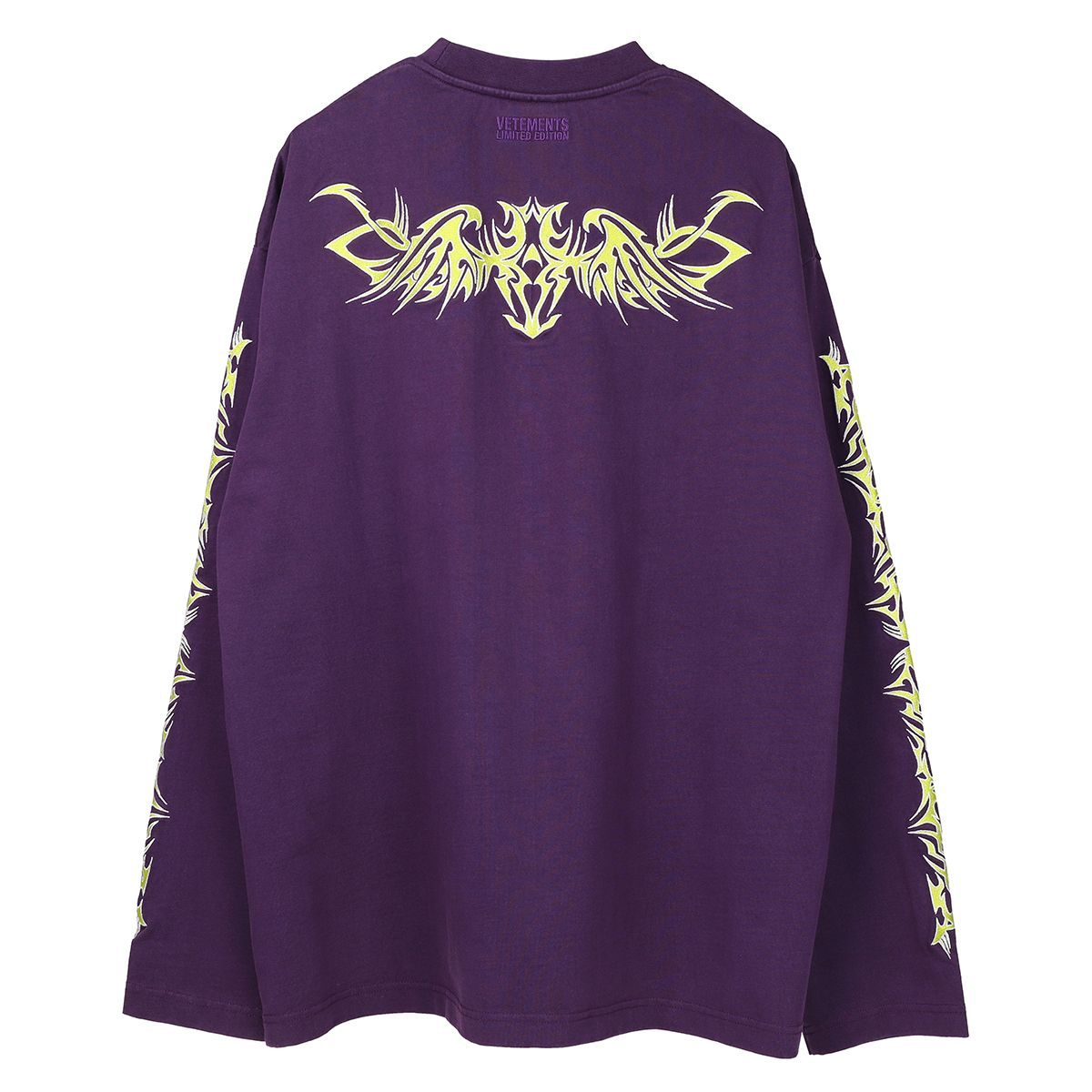 VETEMENTS TRIBAL EMBROIDERED LONGSLEEVE / PURPLE-NEON GREEN