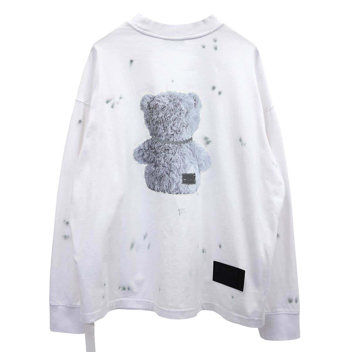 WE11DONE PEARL NECKLACE TEDDY LONG SLEEVE T-SHIRT / WHITE