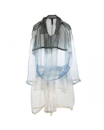 ASTRID ANDERSEN ORGANZA TRENCHCOAT / LIGHT BLUE-BLACK