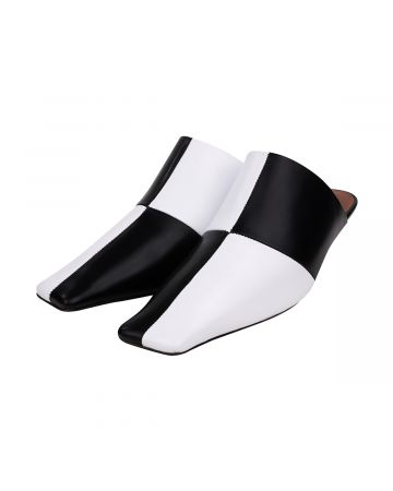 ABRA CHECKERED MULES / BLACK-WHITE