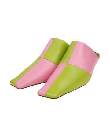ABRA CHECKERED MULES / PINK-GREEN