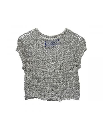 ANTON BELINSKIY LEATHER KNITTED TOP / WHITE