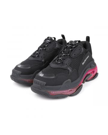 """EXCLUSIVE"" BALENCIAGA W2FR1/FABRIC SNEAKER RUBBER SOLE / 1053 : BLACK-PINK"