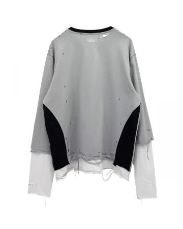 C2H4®️ PANELLED DISTRESSED DOUBLE LAYER LONG-SLEEVE T-SHIRT / GRAY