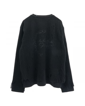 C2H4 DISTRESSED KNIT MESHING LAYERED T-SHIRT / FOGGED BLACK
