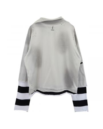 C2H4 PANELLED DISTRESSED DOUBLE LAYER LONG-SLEEVE T-SHIRT / BLACK-WHITE