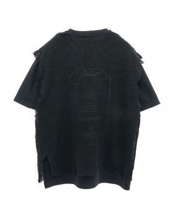 C2H4 DISTRESSED KNIT MESHING LAYERED T-SHIRT / FADED BLACK