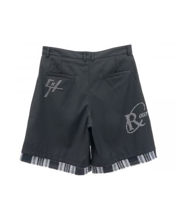 C2H4 DISTRESSED LAYERED SEQUIN TAILORED SHORTS / SOLEMN BLACK