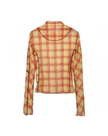 Charlotte Knowles THIN MESH TOP WITH ANATOMIC CUTTING LINES / RED YELLOW