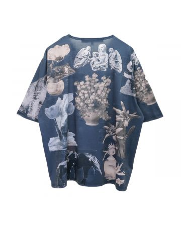 Chopova Lowena AMI COLLAGE OVERSIZED T-SHIRT / BLUE MULTI
