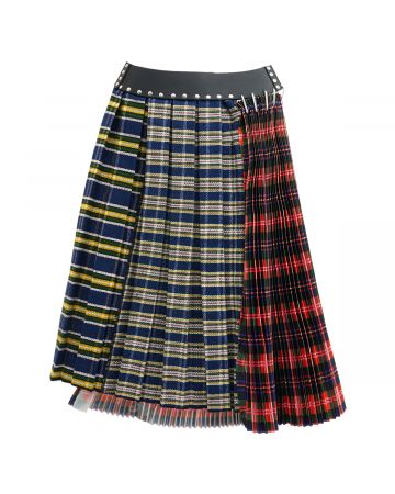 Chopova Lowena RED PLAID HALF AND HALF SKIRT / RED AND BLUE MULTI