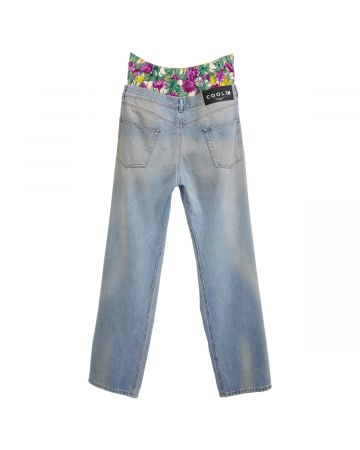 COOL T.M VINTAGE FLOWER DENIM PANTS / DENIM BLUE