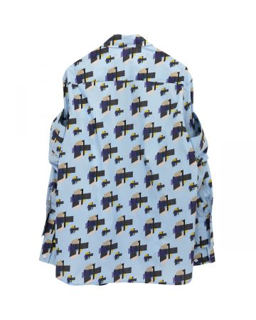 DELADA SHIRT WITH DOUBLE SLEEVES AND SPLIT DELADA CUFF / PRINT BLUE