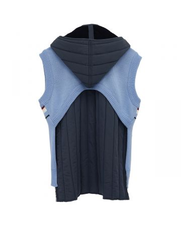 DELADA CROPPED BACK KNITTED HOODIE VEST QUILTED LINING / SKY BLUE