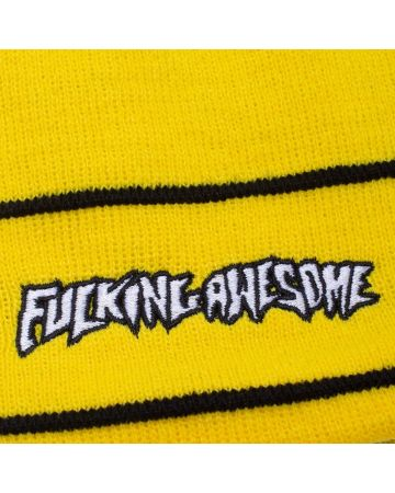 FUCKING AWESOME LITTLE STAMP STRIPE BEANIE / YELLOW-BLACK