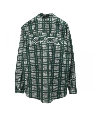 FUCKING AWESOME DISTORTED PLAID LS SHIRT / GREEN-WHITE