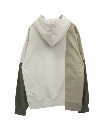 Feng Chen Wang PANELLED HOODIE / WHITE-GRAY
