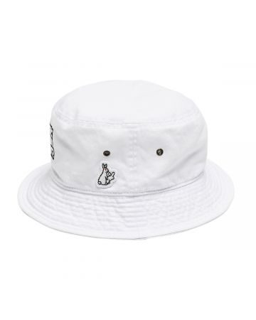 #FR2 WHY LOOK SO DIFFERENT? MESSAGE EMBROIDERY BUCKET HAT / 001 : WHITE