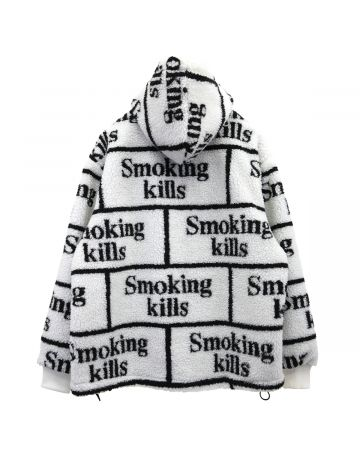 #FR2 SMOKING KILLS BOA ZIP UP HOODIE / 001 : WHITE