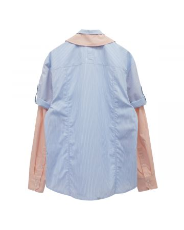 Georges Wendell SHIRT / BLUE STRIPE-PINK