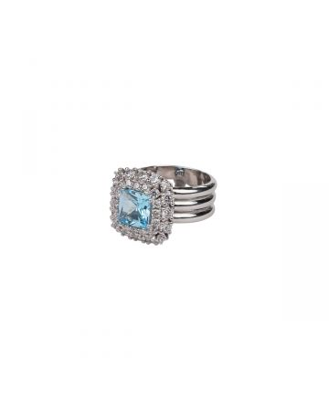 HATTON LABS SKY BLUE TOPAZ RING / 001 : SILVER