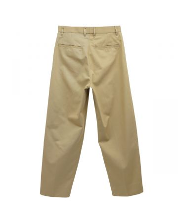 UNIVERSAL PRODUCTS COTTON 1 TUCK TROUSERS / BEIGE
