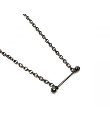 JOHN LAWRENCE SULLIVAN STRAIGHT BARBELL NECKLACE / BLACK