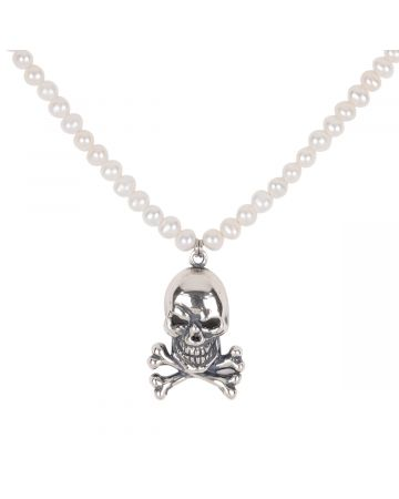 Luke Vicious SKULL N' PEARL NECKLACE / SILVER