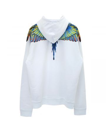 MARCELO BURLON BIRDS WINGS REGULAR HOODIE / 0145 : WHITE BLUE