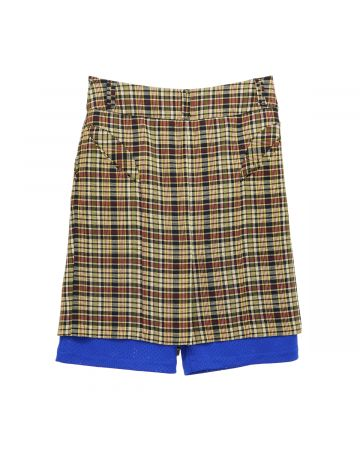 NAMESAKE MINK LAYERED SKIRT / MULTI WEAVED FLANNEL-ELECTRIC BLUE