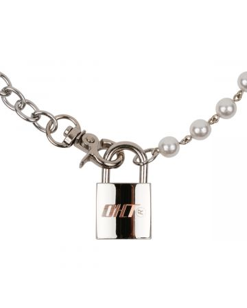 OHT NYC PADLOCK MIXED CHAIN NECKLACE / SILVER