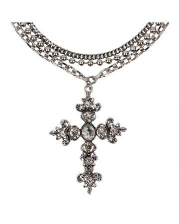 OHT NYC SILVER CRYSTAL CROSS NECKLACE / SILVER