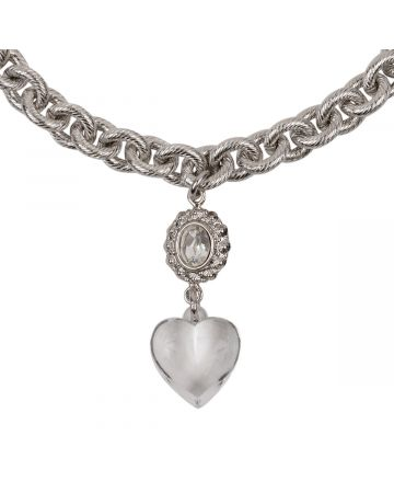 OHT NYC TRANSPARENT HEART CHARM NECKLACE / SILVER