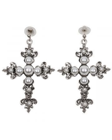 OHT NYC SILVER PEARL CROSS EARRINGS / SILVER