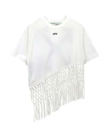 OFF-WHITE c/o Virgil Abloh WOMENS ASYMMETRICAL HEM FISHNET TEE / 0110 : WHITE BLACK
