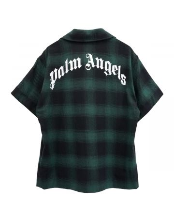 Palm Angels LOGO BOWLING SHIRT / 5501 : GREEN WHITE