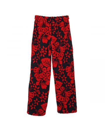 Palm Angels HAWAIIAN PILE PANTS / 1020 : BLACK RED