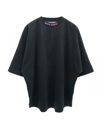 Palm Angels DOUBLED LOGO OVER TEE / 1032 : BLACK FUCHSIA