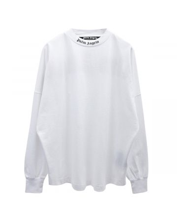 Palm Angels DOUBLED LOGO OVER TEE L/S / 0132 : WHITE FUCHSIA