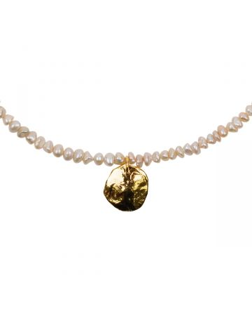 PREEK BEADS PEARL COIN NECKLACE / PINK