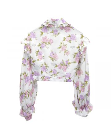rokh CROPPED RUFFLE BLOUSE / 009 : CREAM FLORAL