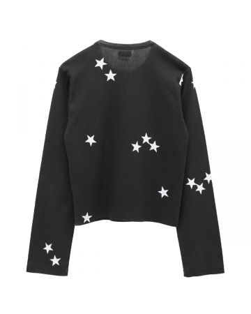 Stefan Cooke LONG SLEEVE JERSEY WITH LARGE STAR PRINT / BLACK-WHITE