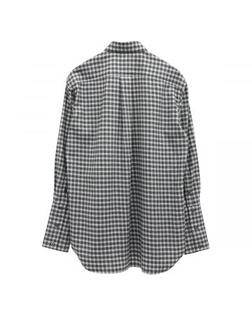 Stefan Cooke COTTON SHIRT WITH INFINITY COLLAR DETAIL / BLACK AND WHITE CHECK