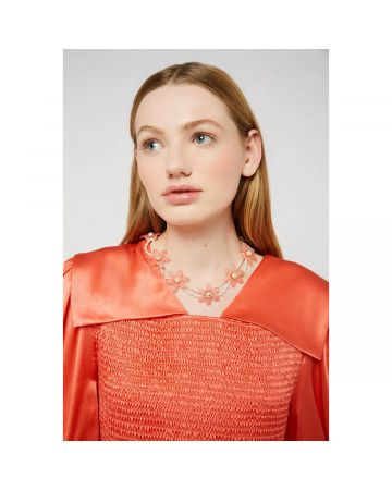 SHRIMPS FLOWER & PEARL NECKLACE / CORAL-CREAM