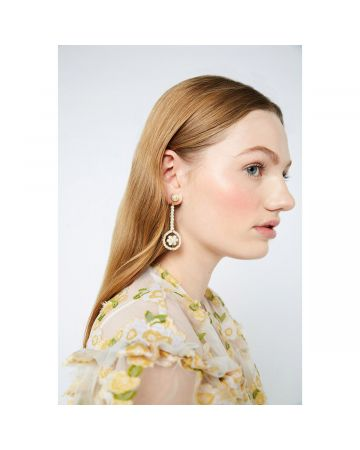 SHRIMPS GEOMETRIC & PEARL LONG EARRING / CREAM