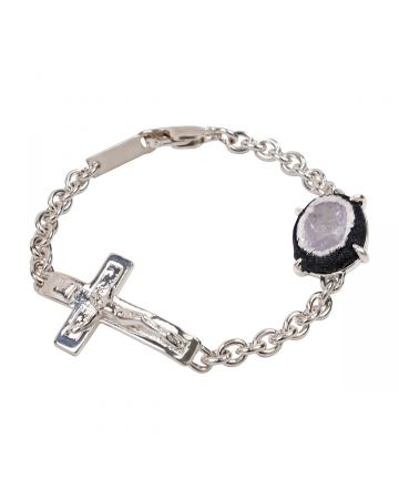 SWEETLIMEJUICE SILVER CRUCIFIX OVAL ZONG BRACELET / SLV-GREY-CLEAR STONE