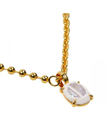 SWEETLIMEJUICE GOLD OVAL ZONG HEAVY MIXED CHAIN NECKLACE / GOLD-WHITE DENIM-CLEAR STONE